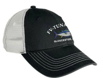 Black unconstructed hat, classic cut with velcro closure. With FV-Tuna.com